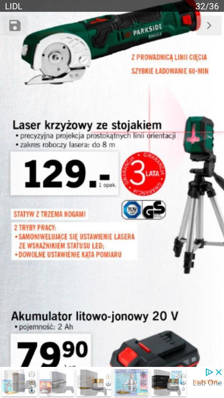 Laser krzyżowy Parkside Lidl