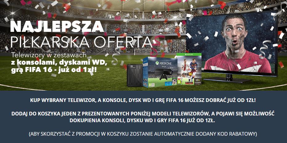 Przy zakupie wybranych modeli telewizorów FIFA 16 za 1zł, dysk WD 500GB za 60zł lub PS4 za 1499zł @ Euro