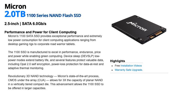 Dysk SSD Micron 2TB 1100 Series (@ sklep OWC macsales.com)