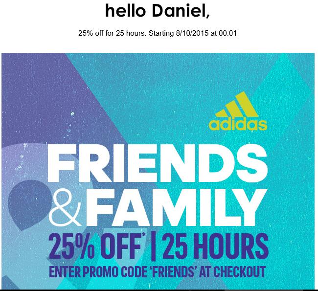 25% zniżki przez 25 godzin - Adidas