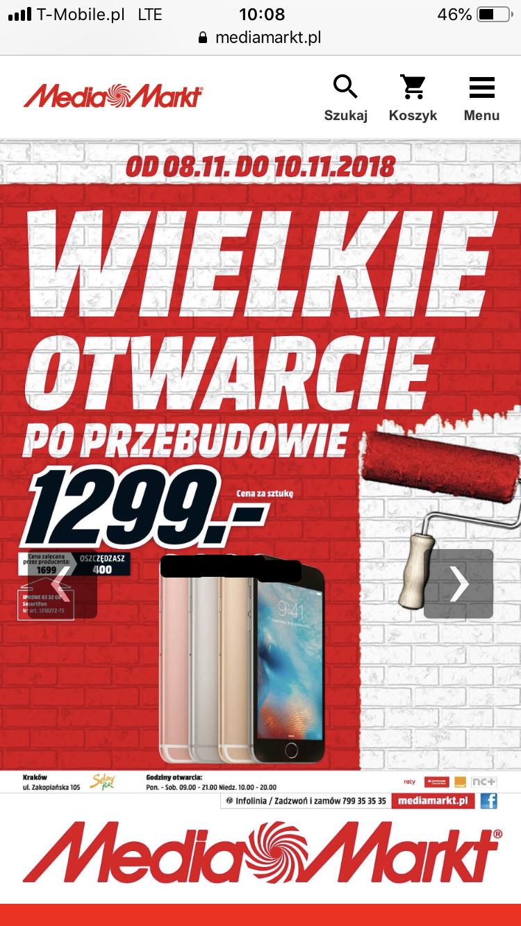 iPhone 6s 32 GB Media Markt Kraków Zakopiańska
