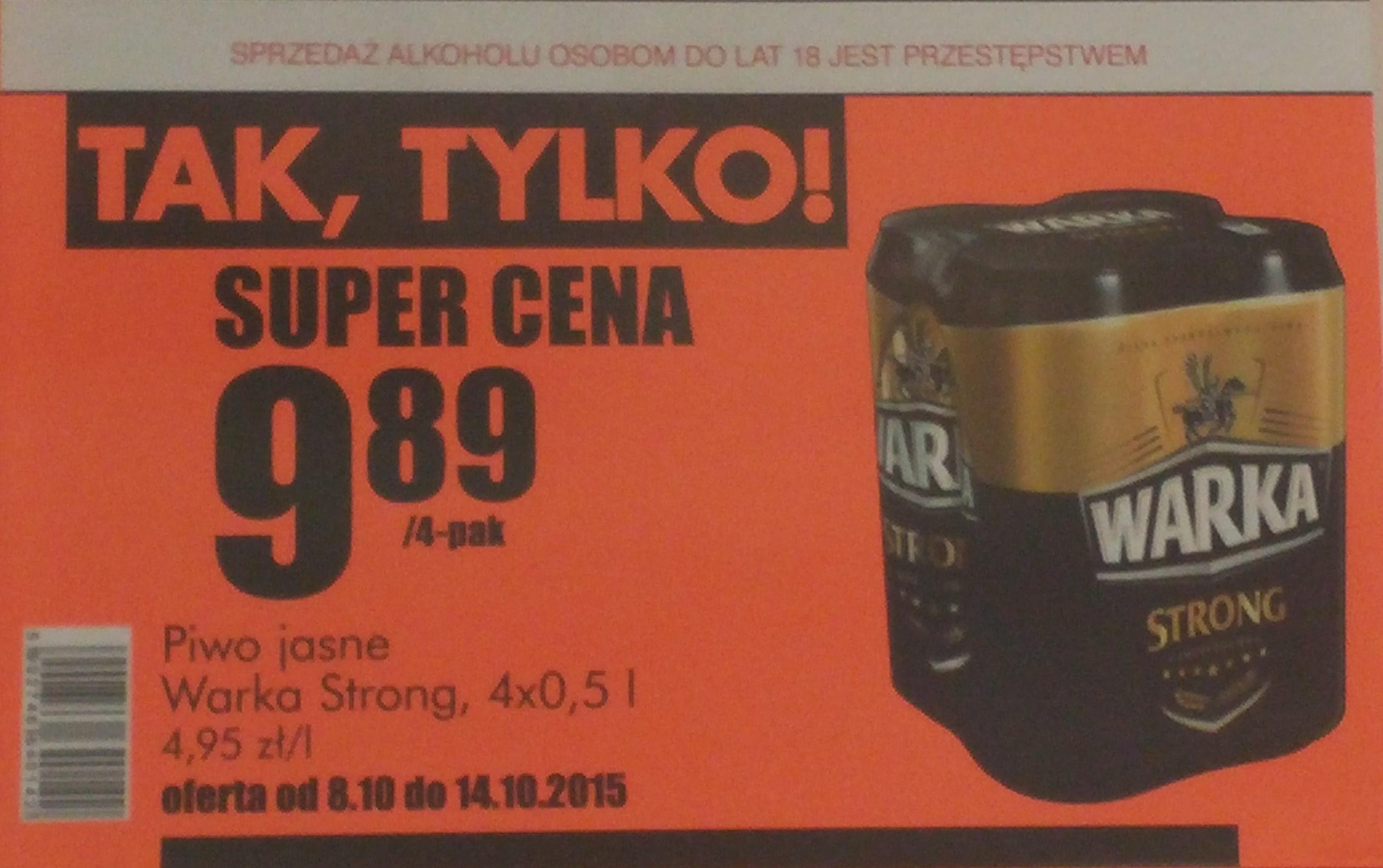Piwo Warka Strong po 2,47 za puszkę 0,5l - Biedronka