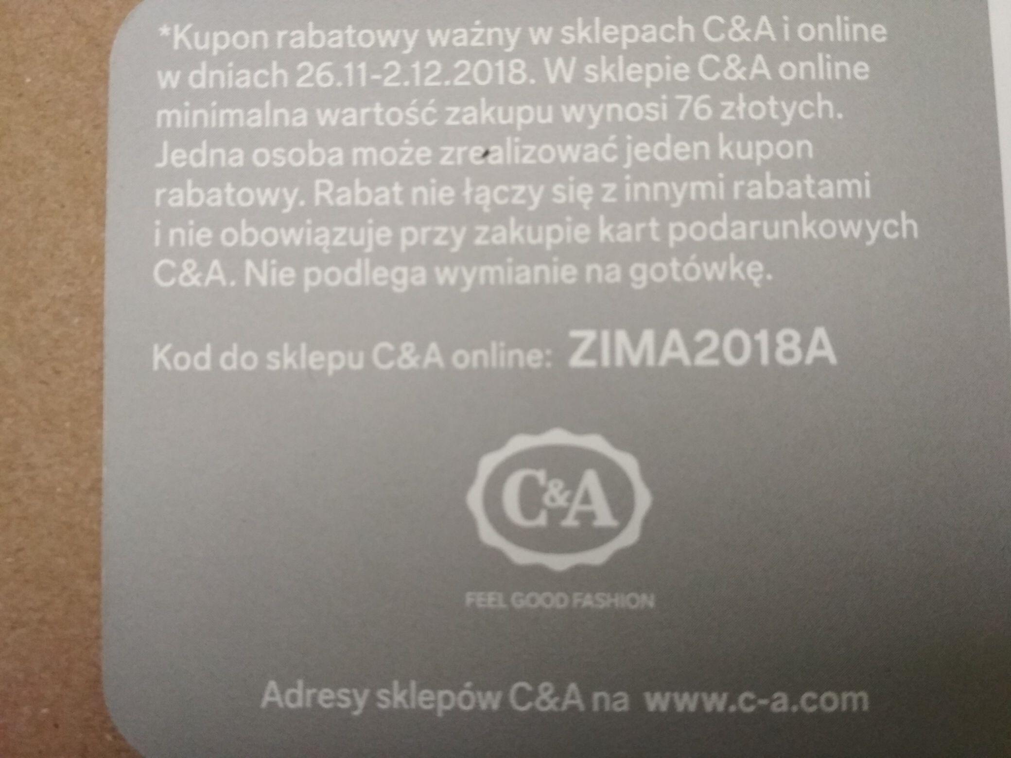 C&A - kupon -20% na wszystko, online i w sklepach