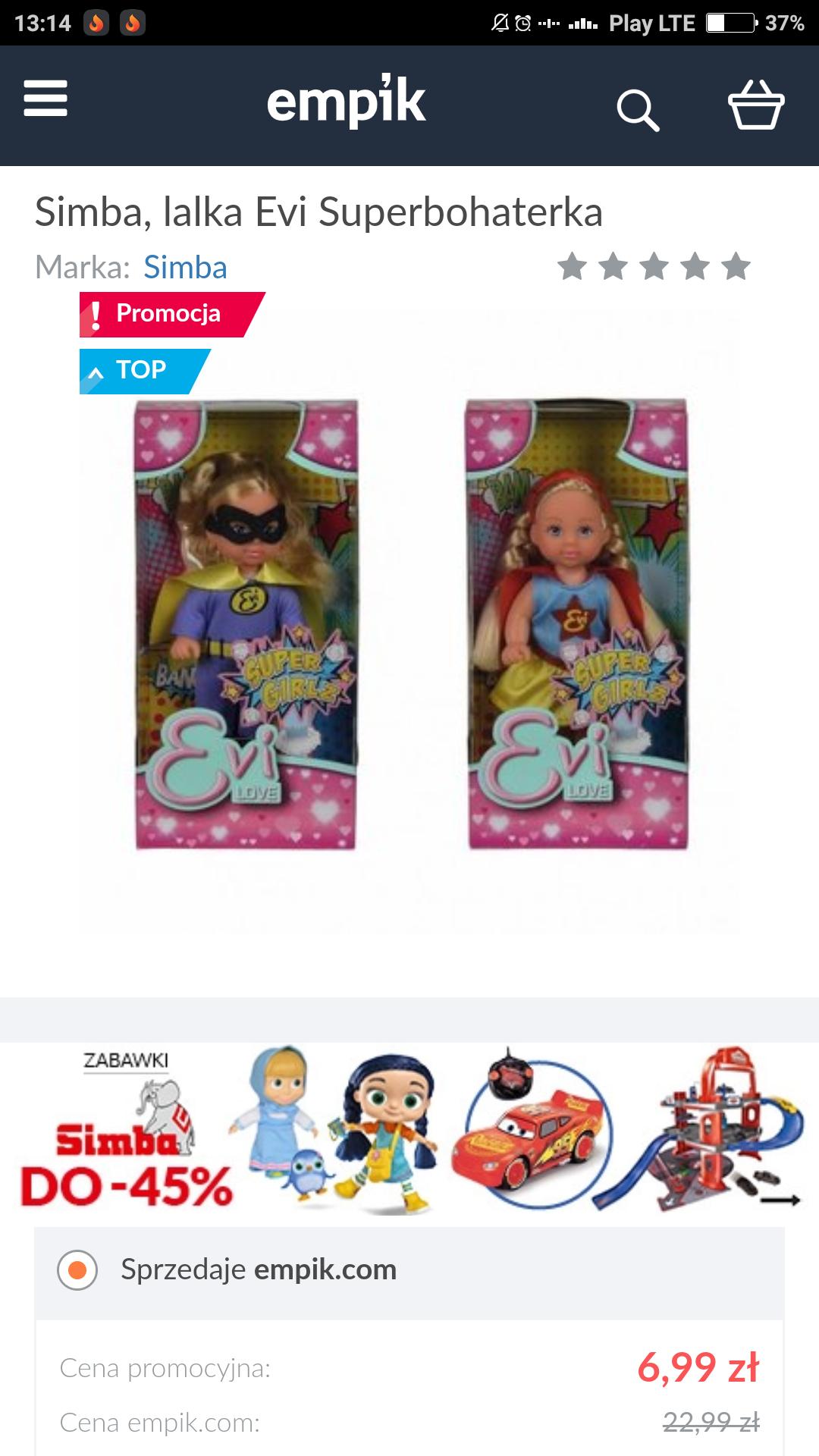 Promocja -70% na lalkę Evi firmy Simba w EMPIKU