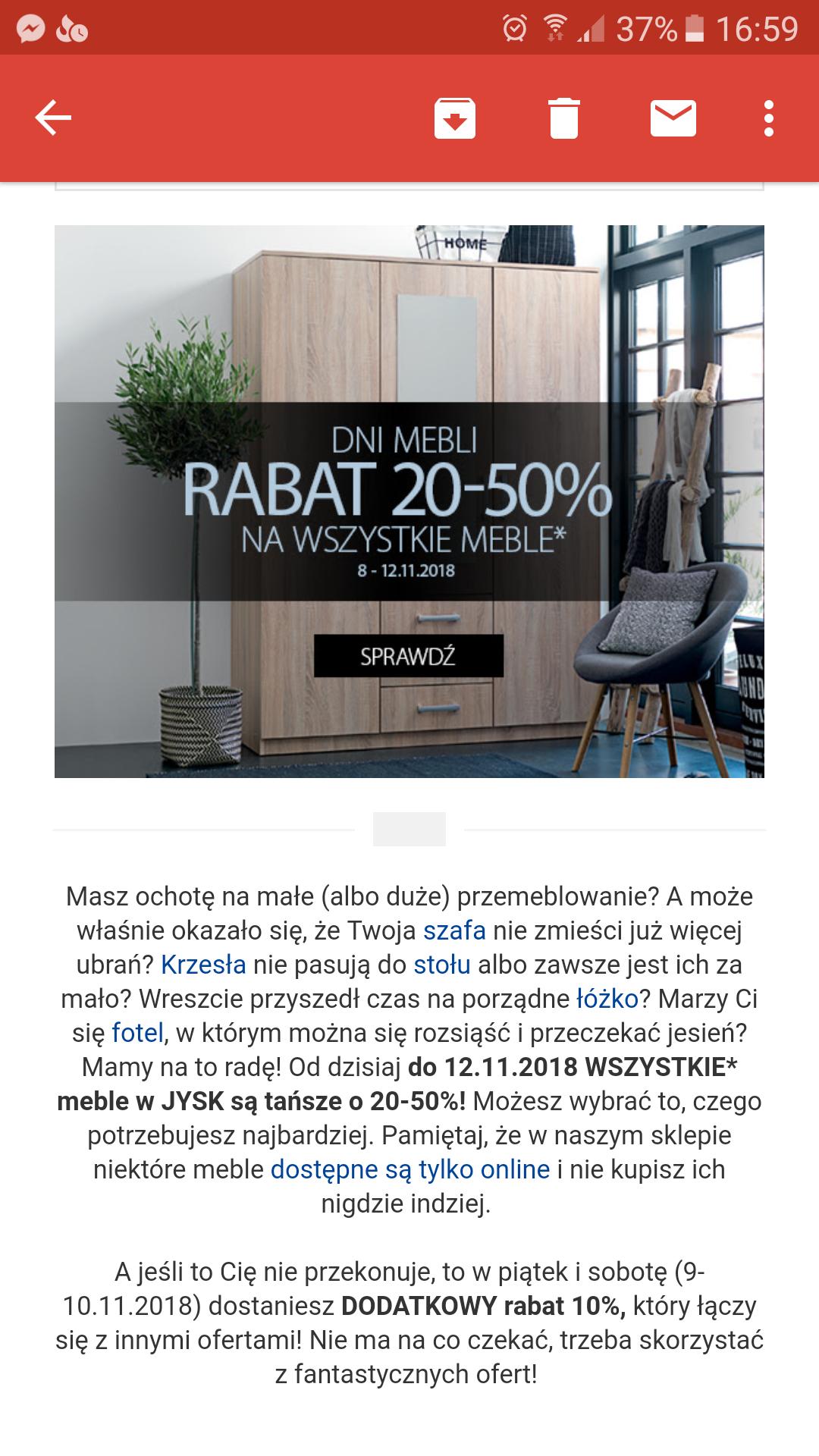 Jysk Rabat 20-50% na meble w JYSK!
