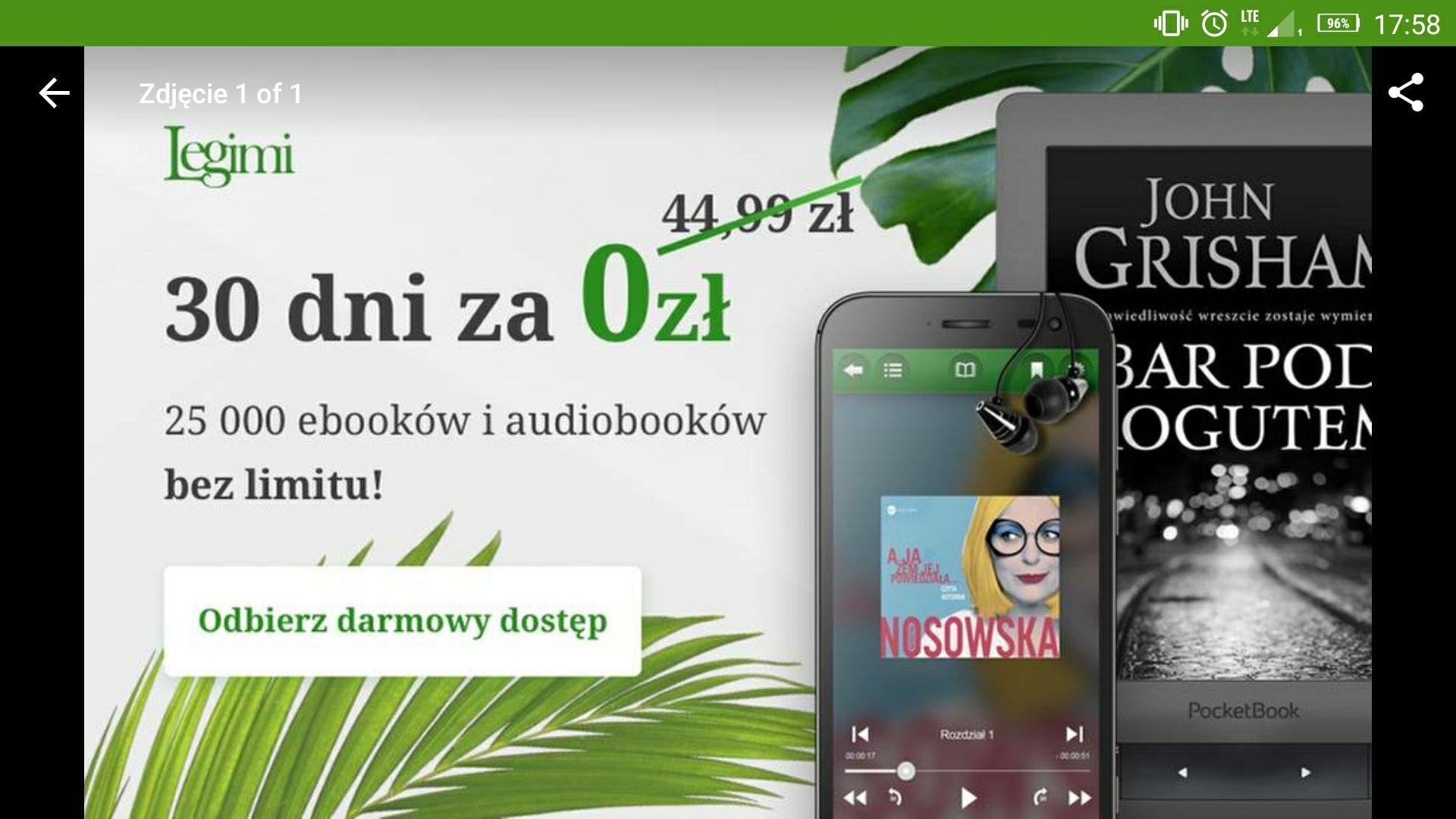 Za darmo. Legimi nielimitowany dostęp do ebooków i audiobooków 30dni Groupon.pl