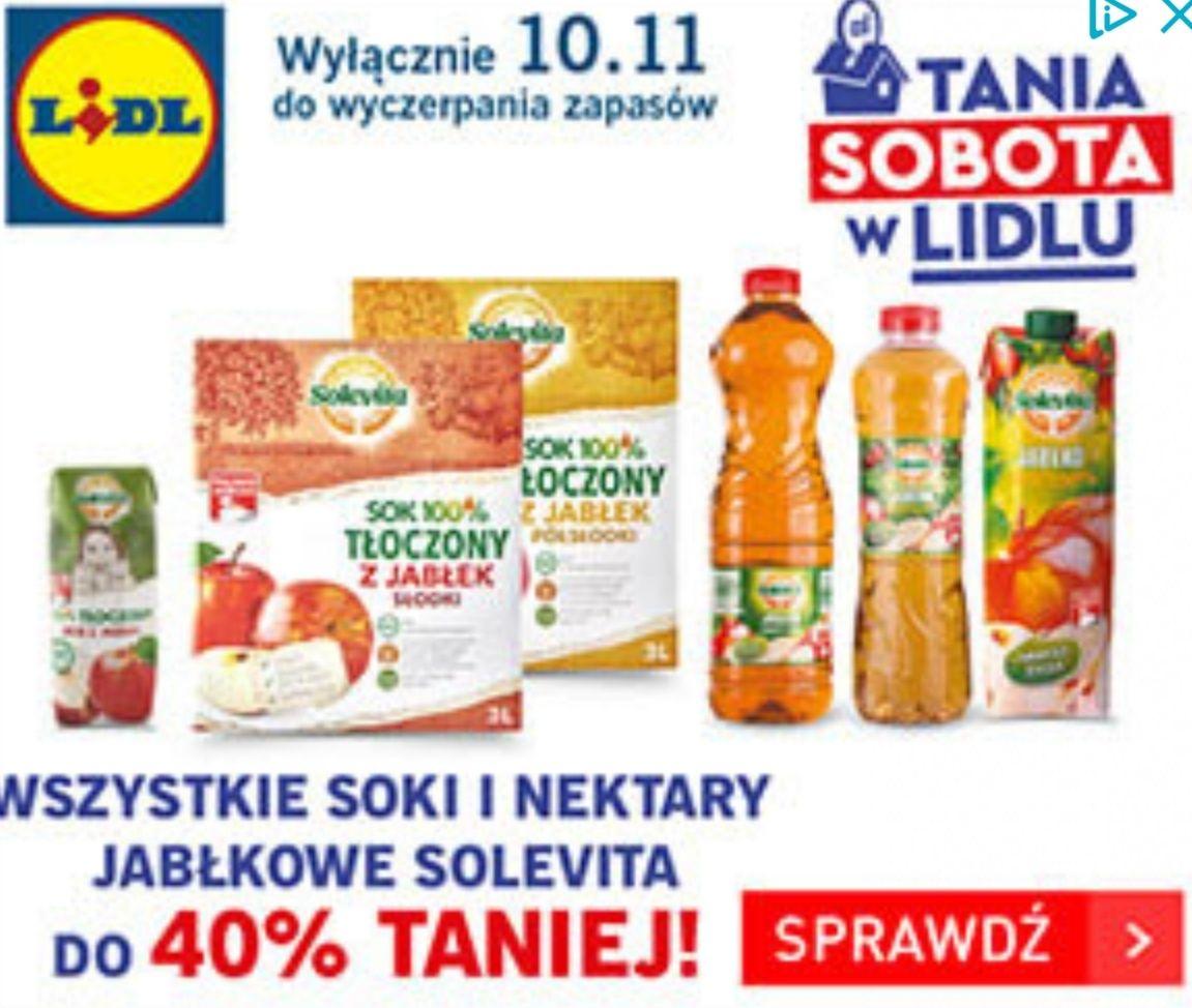 Wszystkie soki i nektary jabłkowe Solevita do 40% taniej | Banany 2,69 PLN | Tania sobota w @Lidl