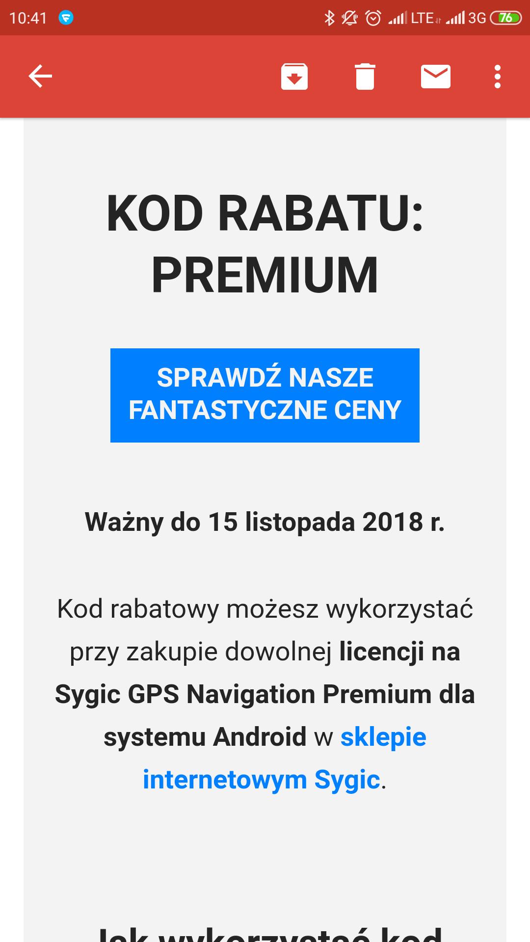 Specjalny rabat -15% na nawigację Sygic Android