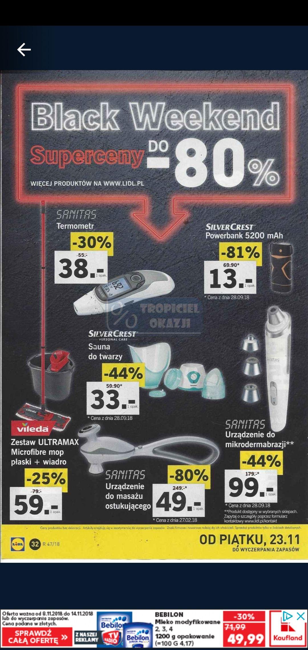 Black Weekend Lidl do -80% Powerbank 5200 za 13zł, Nawigacja Garmin 249 i inne