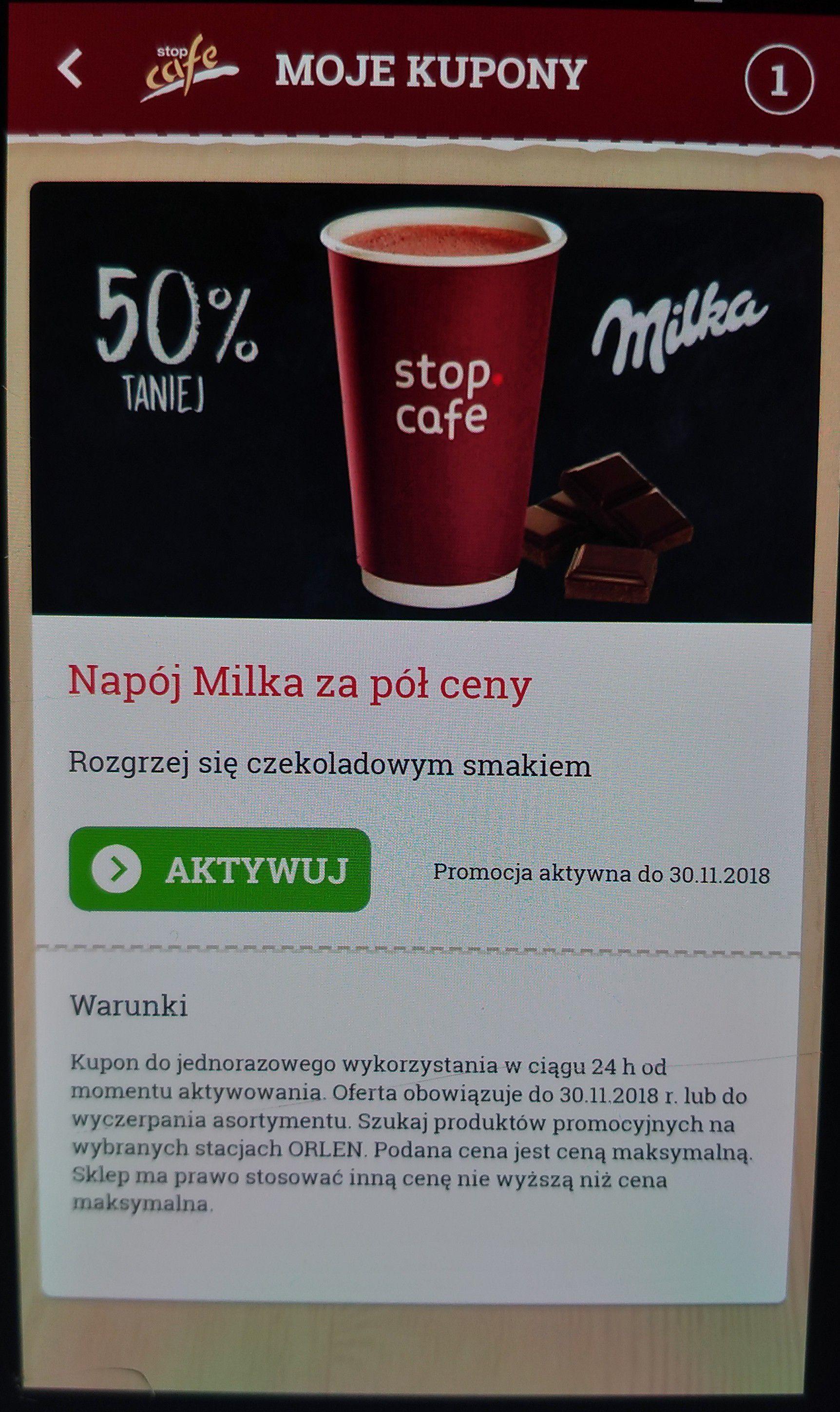 Orlen - Napój Milka - 50% z aplikacją stop cafe