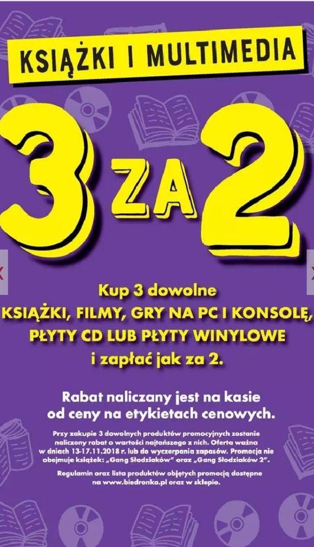 3 za 2: kup 3 dowolne książki, filmy, gry na PC i konsole, płyty CD lub winylowe i zapłać za 2 @ Biedronka