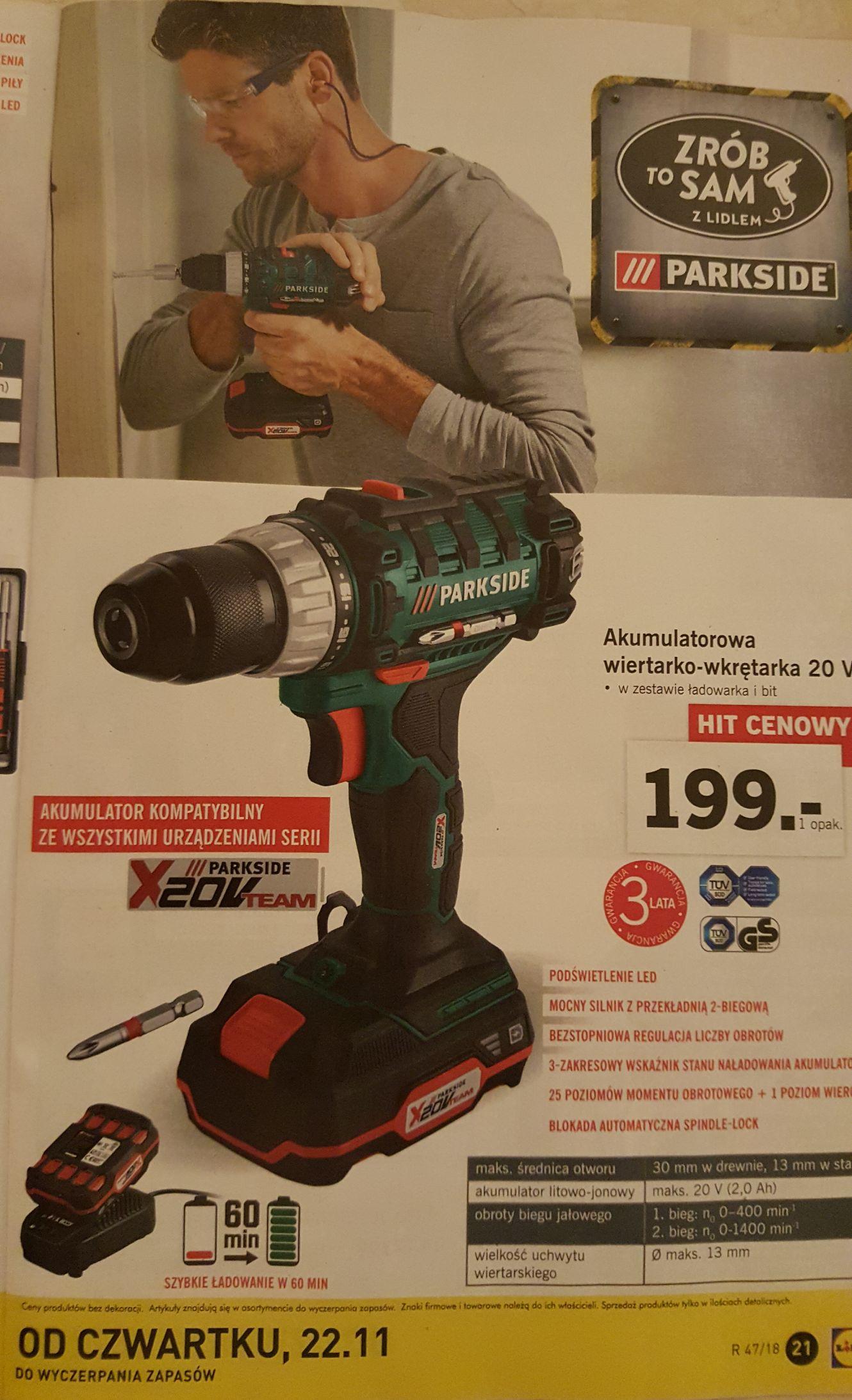 Akumulatorowa wiertarko-wkrętarka LIDL Parkside 20V - znana i lubiana ponownie w sprzedaży od 22.11