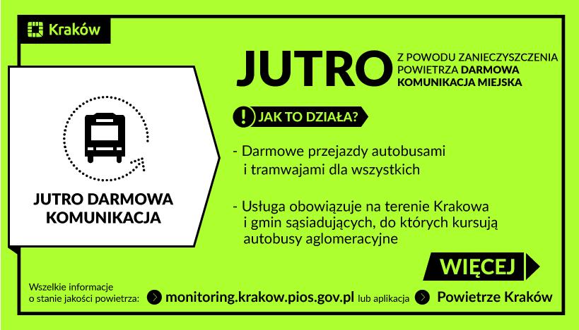 [Kraków][smog] 11.11.2018 darmowa komunikacja miejska
