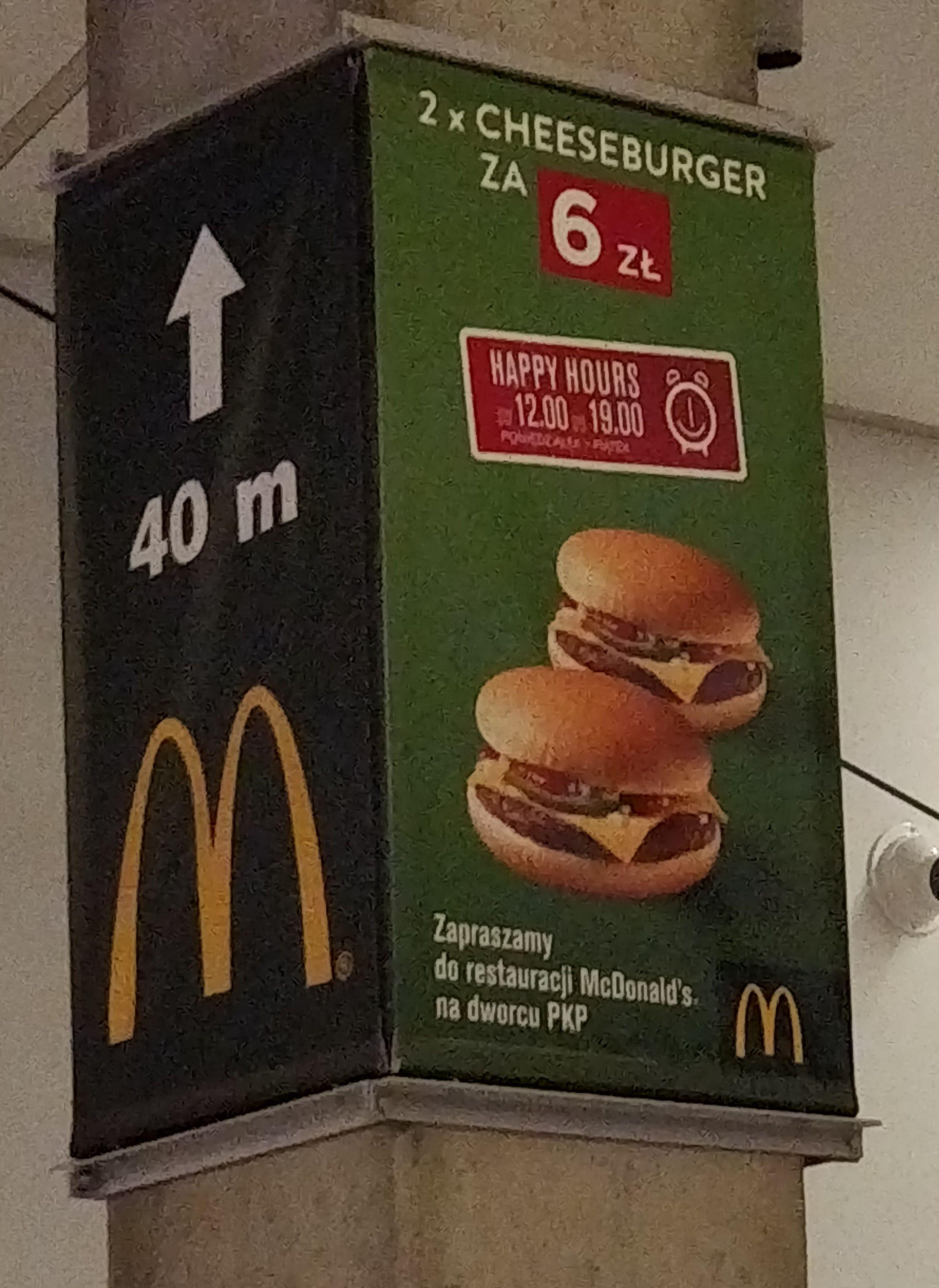 2x Cheeseburger na dworcu głównym w Katowicach w godzinach 12-19 (McDonald's)
