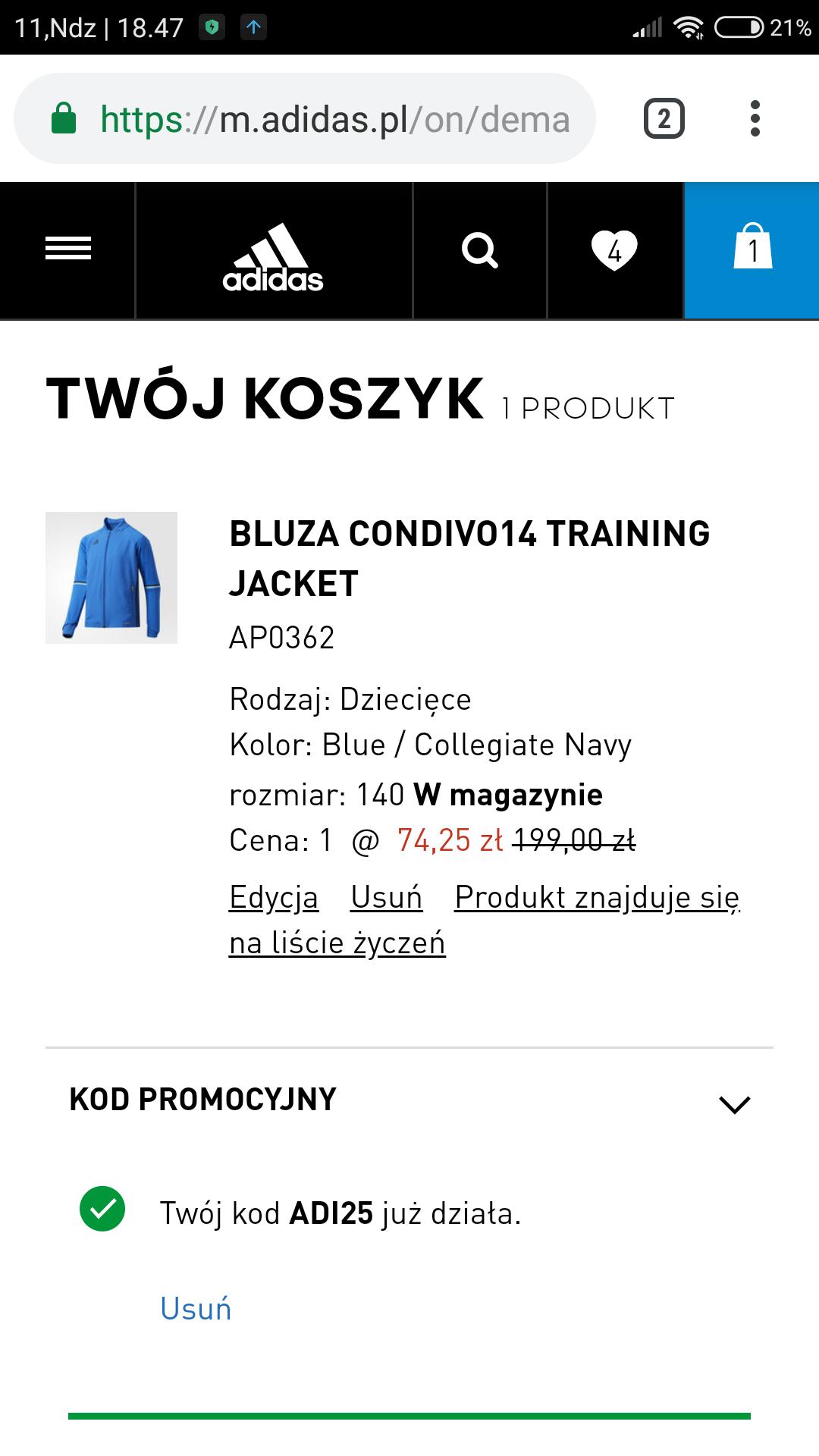 BLUZA CONDIVO14 TRAINING JACKET