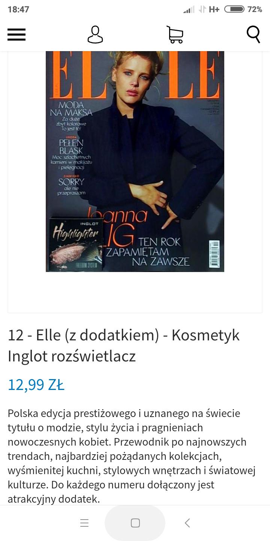 Elle + rozświetlacz Inglot Freedom System w prezencie