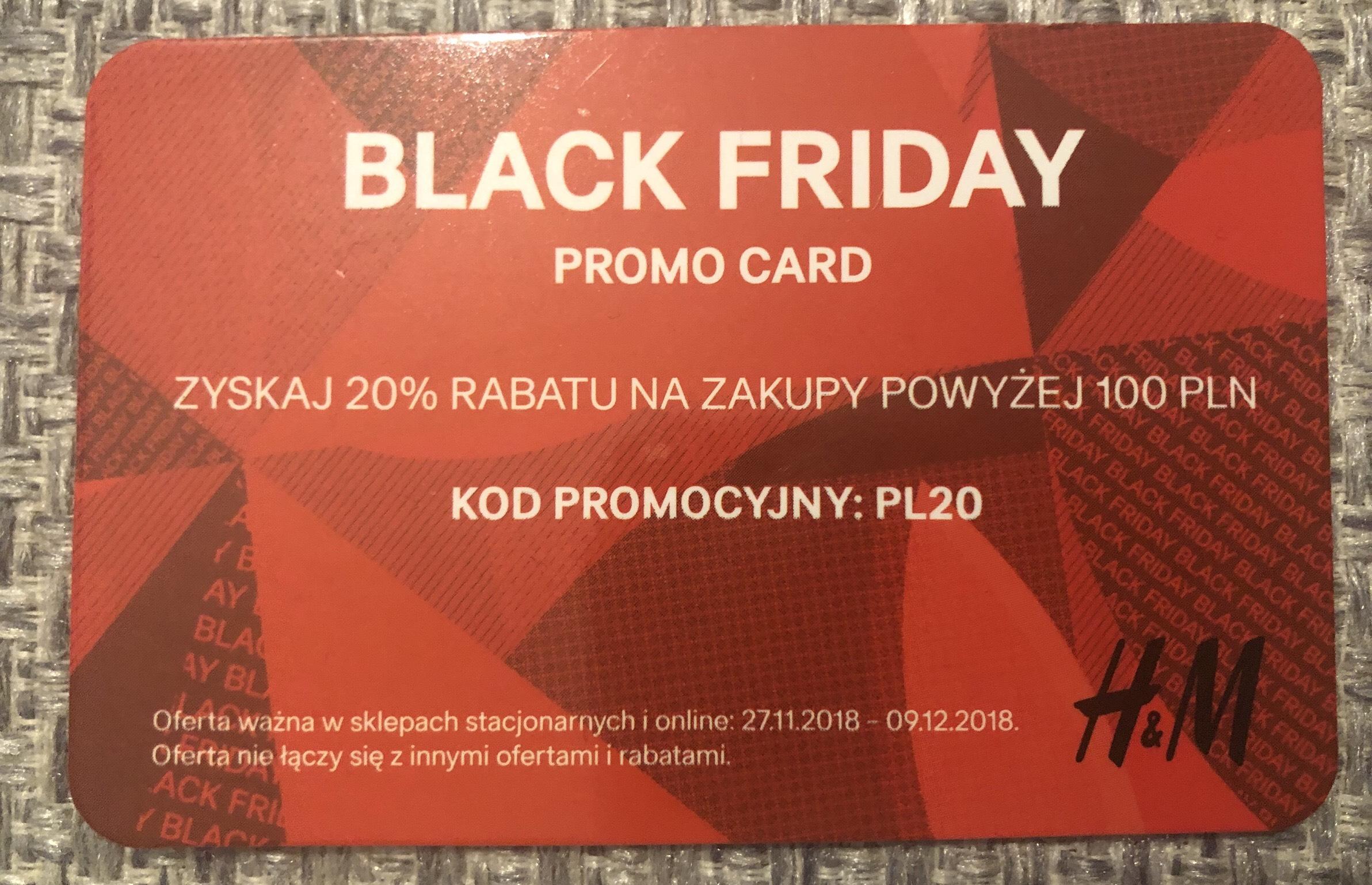 Black Friday promo card H&M
