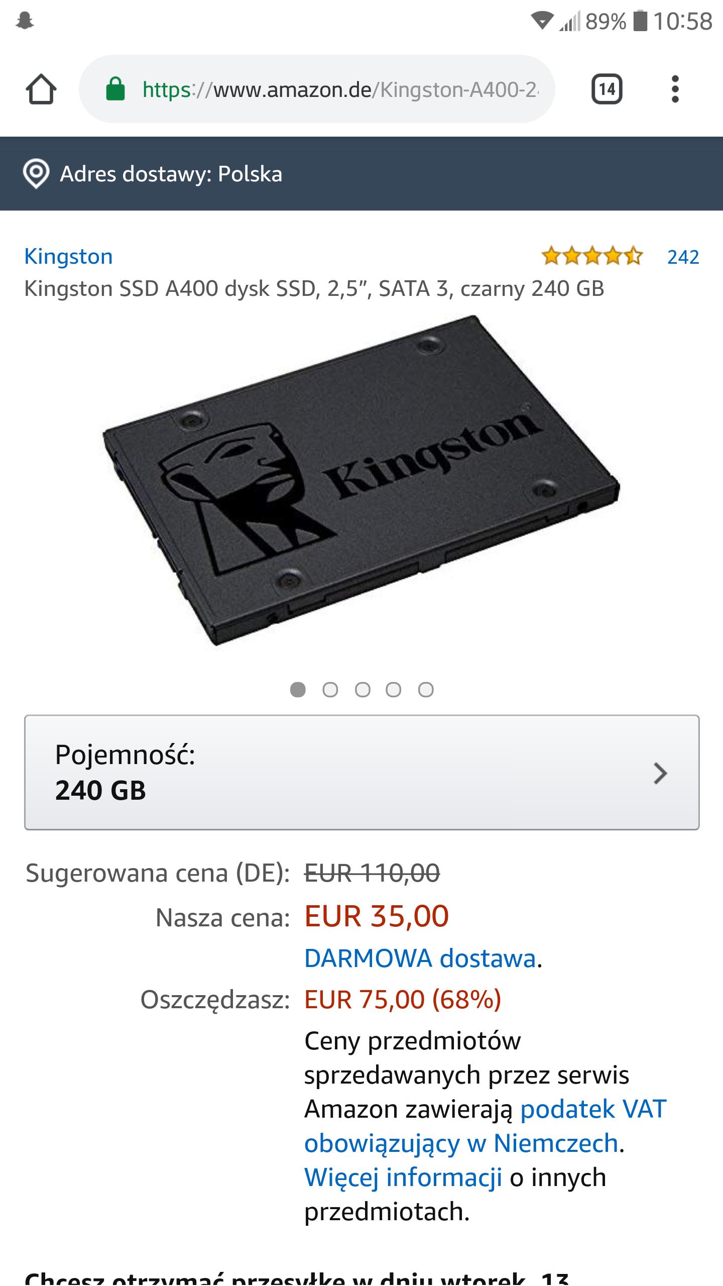 Dysk SSD Kingston A400 240GB amazon.de