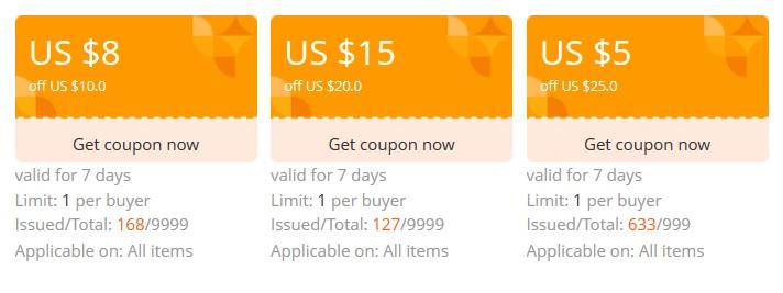 Sklep z kuponami -27/30$, 15/20 i 8/10 i 5/25 na akcesoria do telefonów, ładowarki, kable @ AliExpress