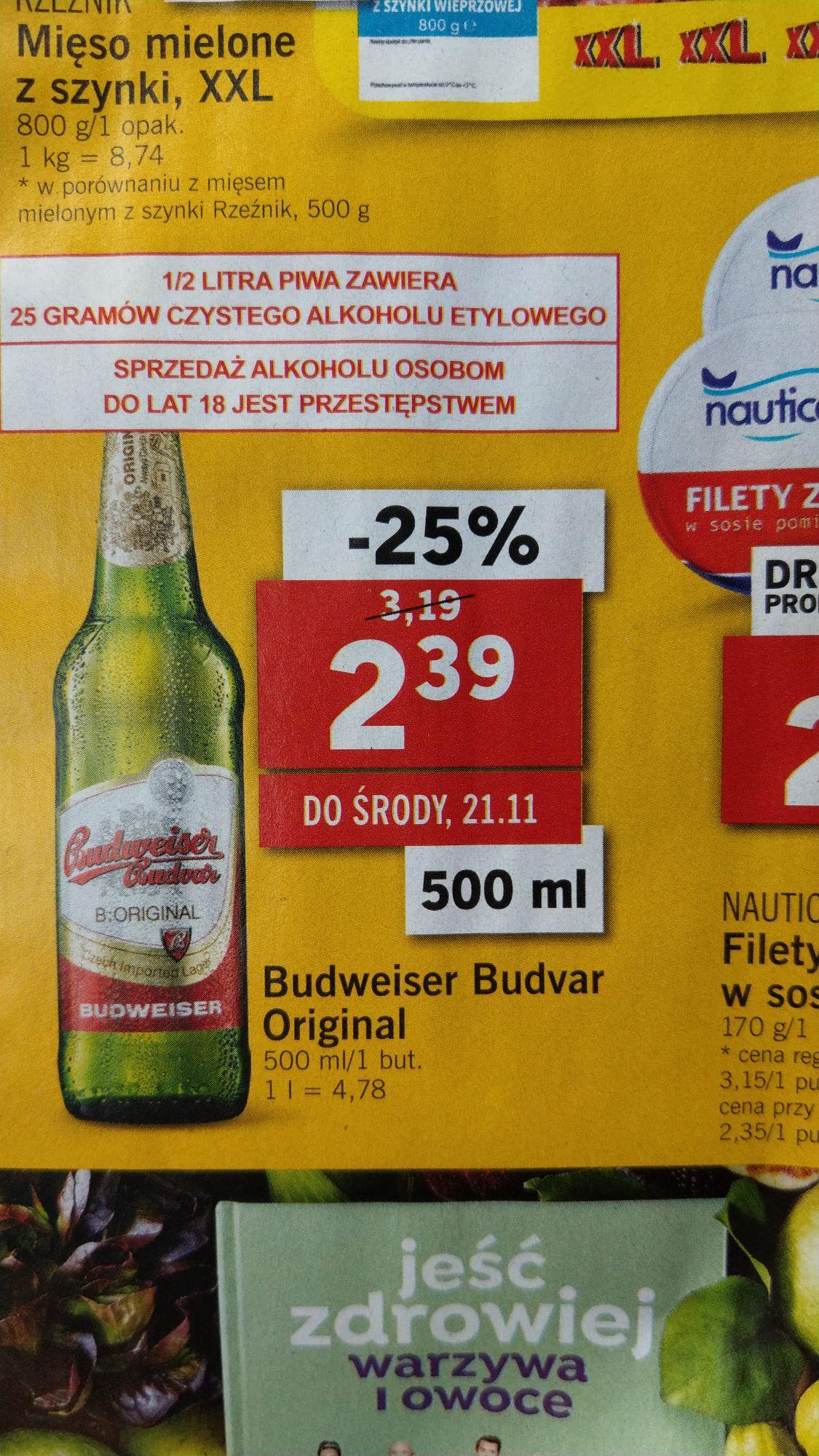 Piwo Budweiser 500ml lidl