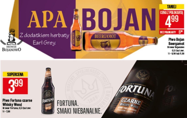 Piwo: Bojan Beergamot APA (4,99zł) i Fortuna Czarne Whisky Wood (3,99zł) @ POLOmarket