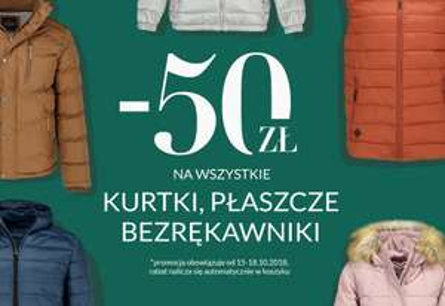 -50 zł WSZYSTKIE KURTKI, PŁASZCZE I BEZRĘKAWNIKI W  VOLCANO!