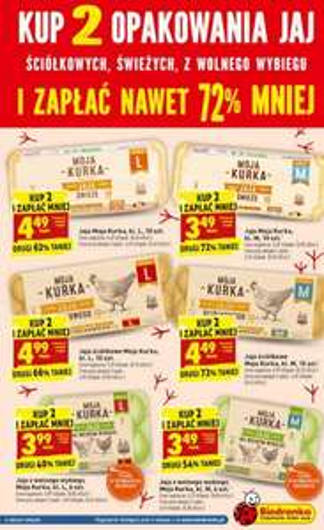 Kup 2 opakowania jaj ściółkowych, świeżych, z wolnego wybiegu i zapłać do 72% mniej za drugie @ Biedronka
