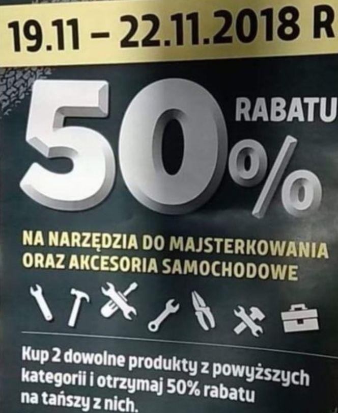 50% rabatu przy zakupie 2 dowolnych narzędzi do majsterkowania i akcesoriów samochodowych na tańszy z nich @ Biedronka