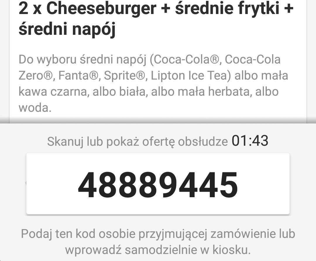 2xCheeseburger+Średnie frytki+Średni napój za 11 zł [McDonald's]