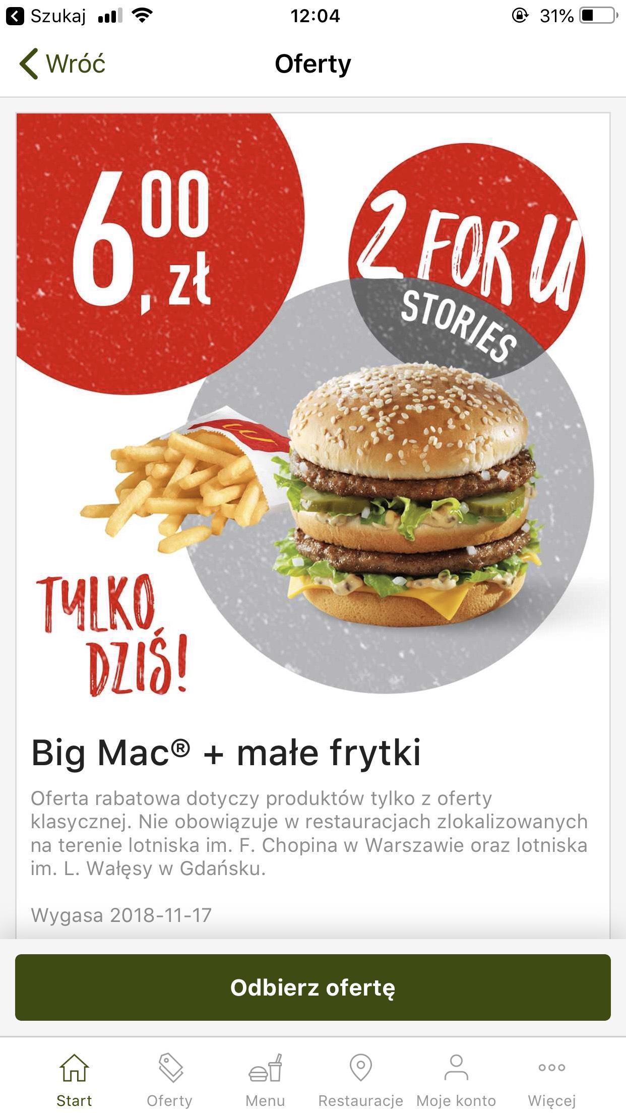 Big Mac + frytki za 6 zł