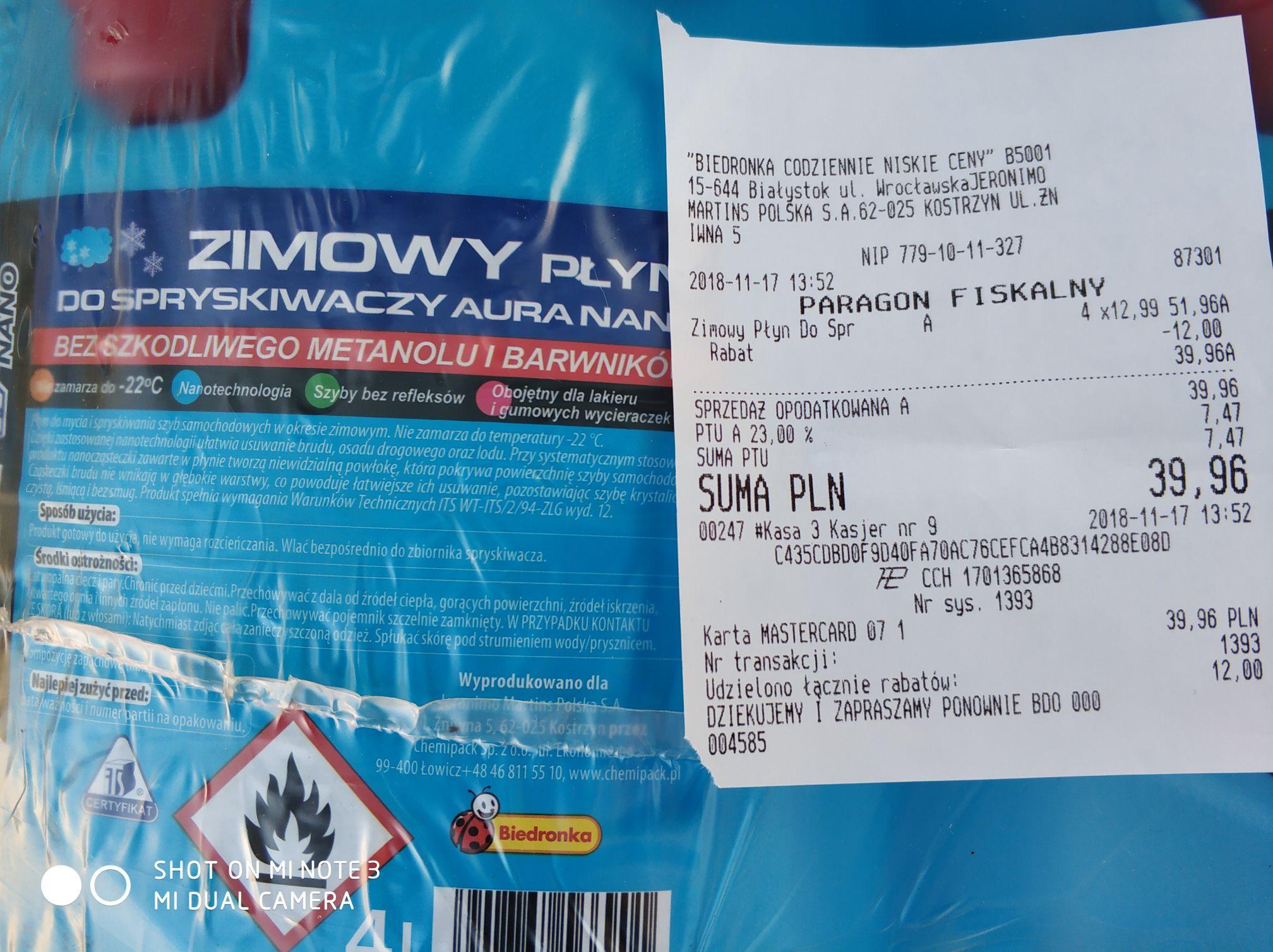 Zimowy płyt do spryskiwacza 4L - przy zakupie 2szt. lub wielokrotności