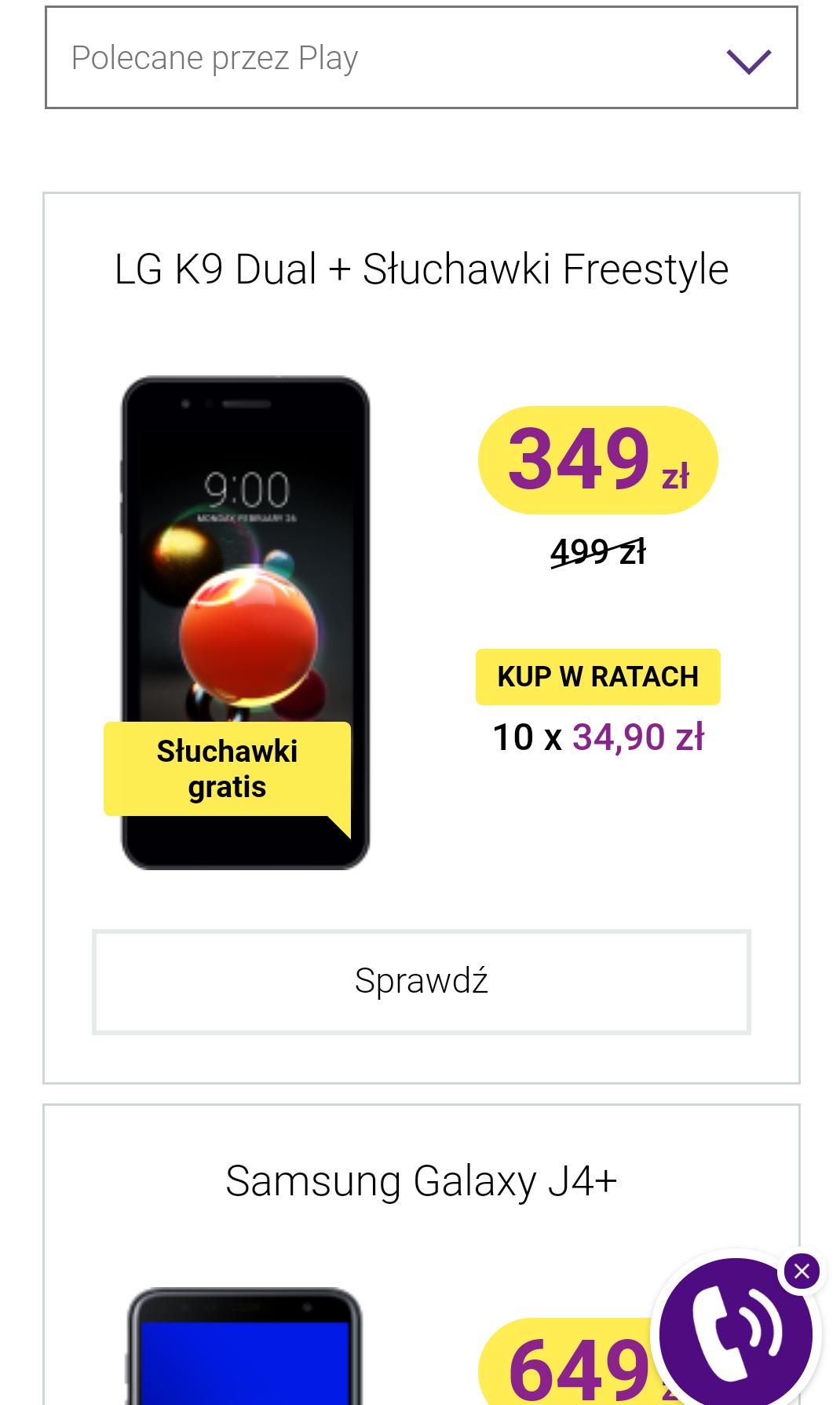 LG K9 dual w Play bez umowy + gratis słuchawki