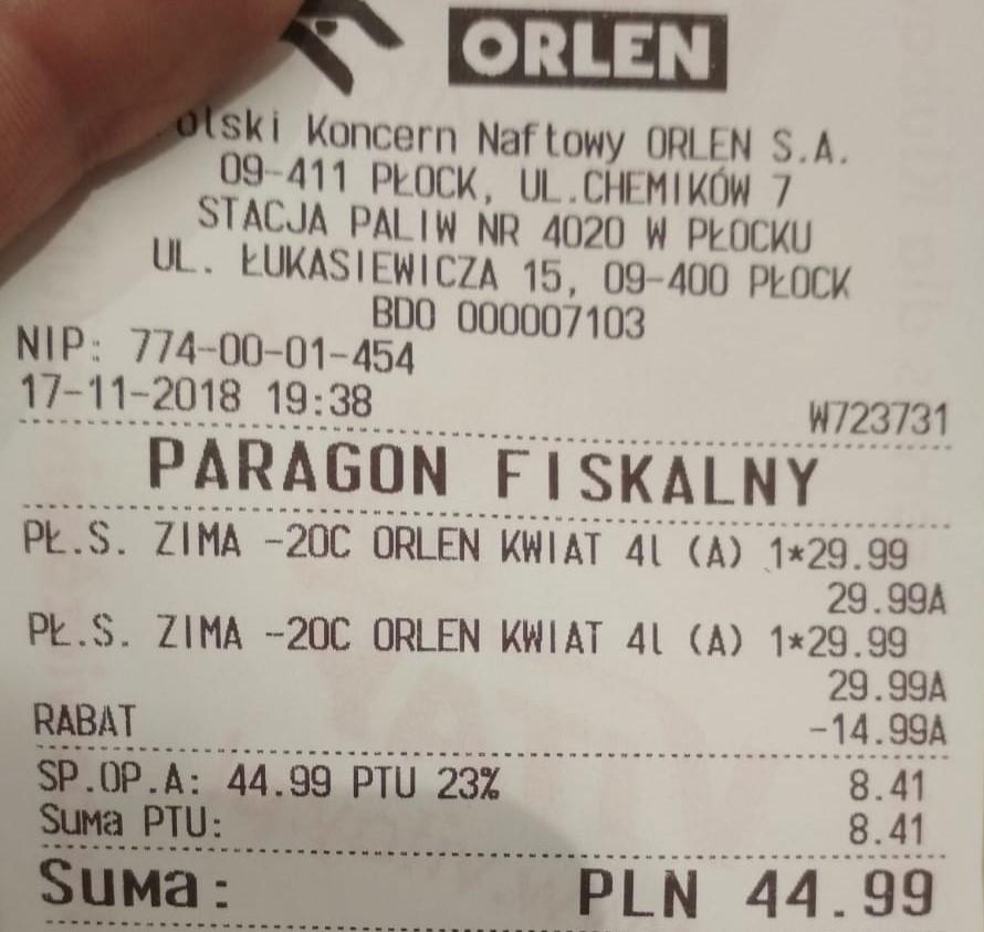 Zimowy Płyn do Spryskiwaczy ORLEN 4L 22.50zł
