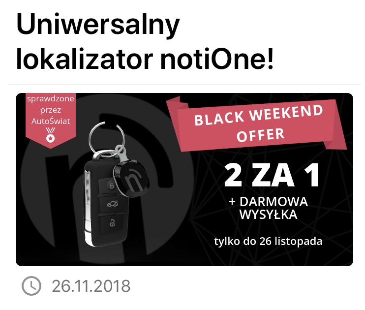 Lokalizator notiOne Play - promocyjna cena przy zakupie 2 szt przez aplikację Yanosik
