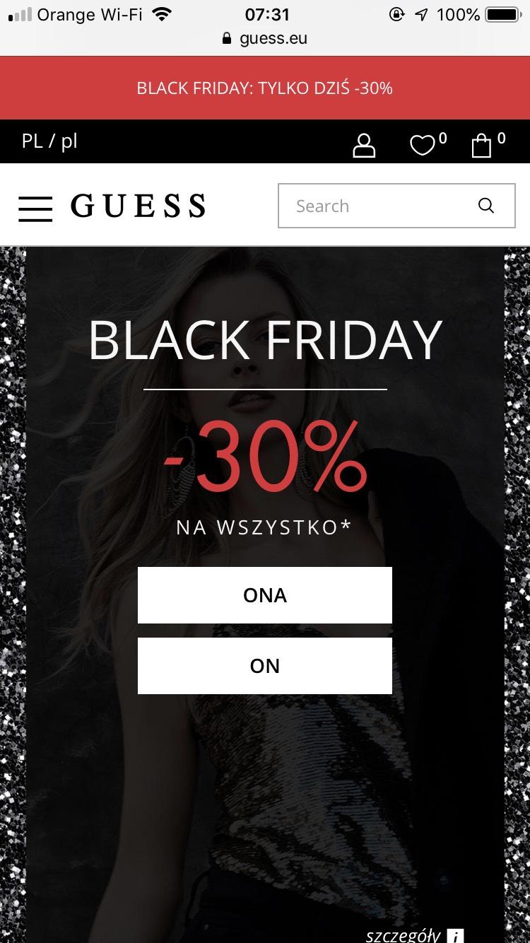-30% na cały asortyment w sklepie Guess i na stronie internetowej