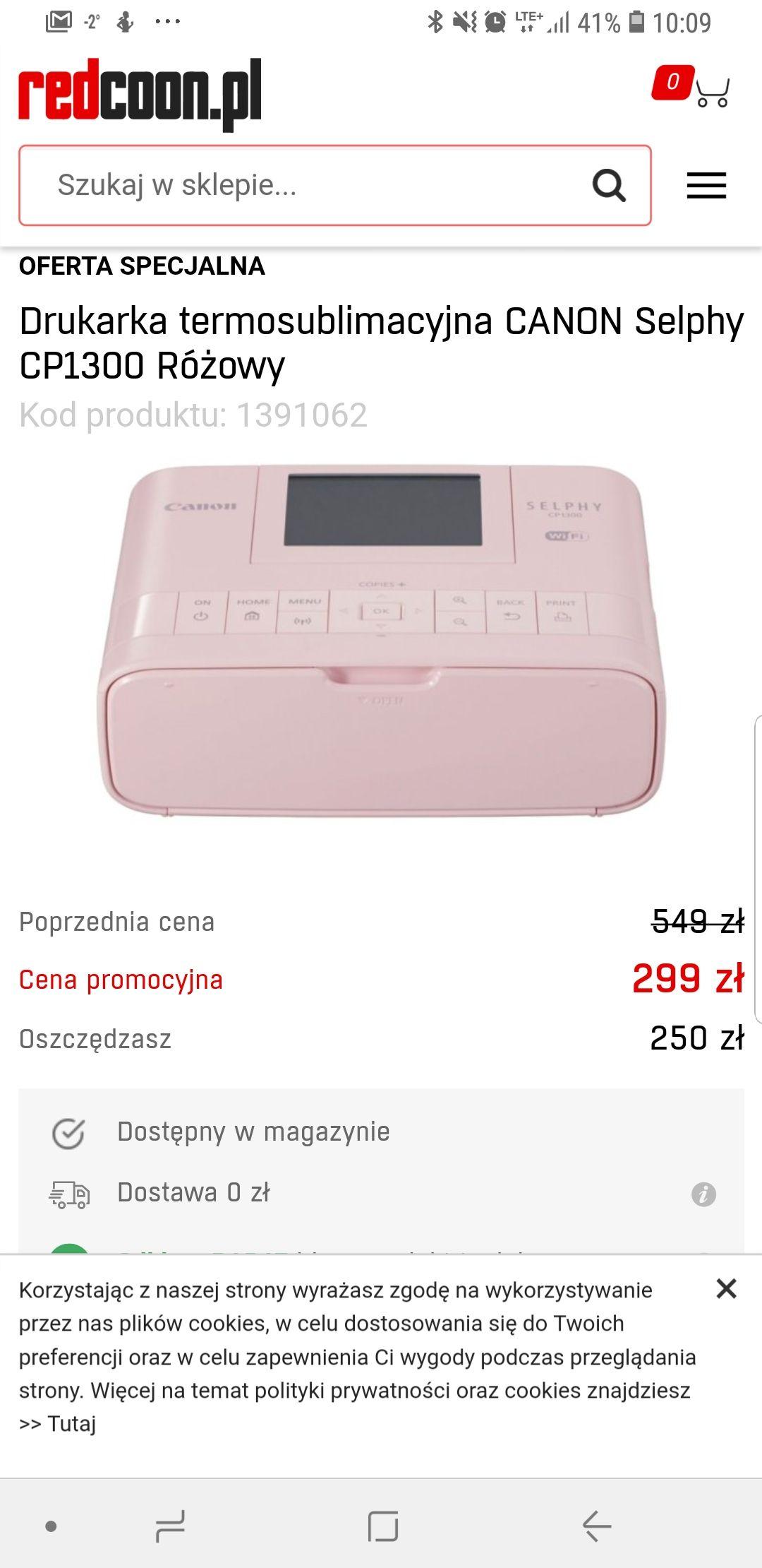 Canon Selphy CP1300 za 209 zł - drukarka termosublimacyjna (299 PLN cena BF - 90PLN Canon Cashback )