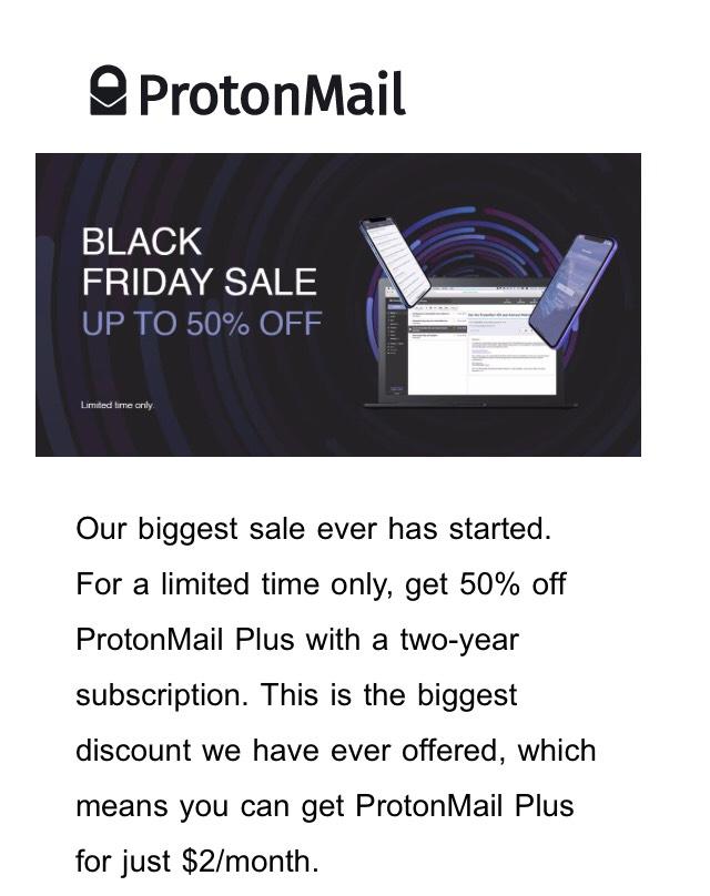 ProtonMail Plus -50%