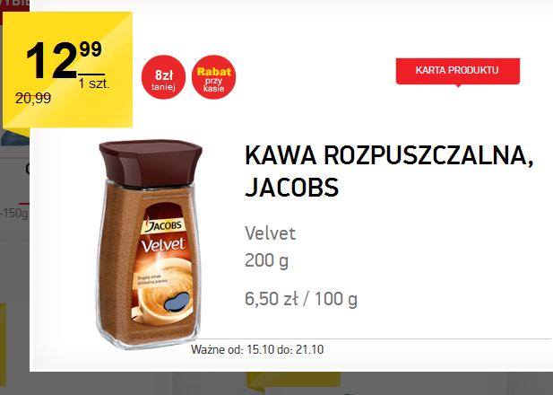 Kawa rozpuszczalna Jacobs Velvet 200g za 12,99zł (do dziś) @ Intermarche