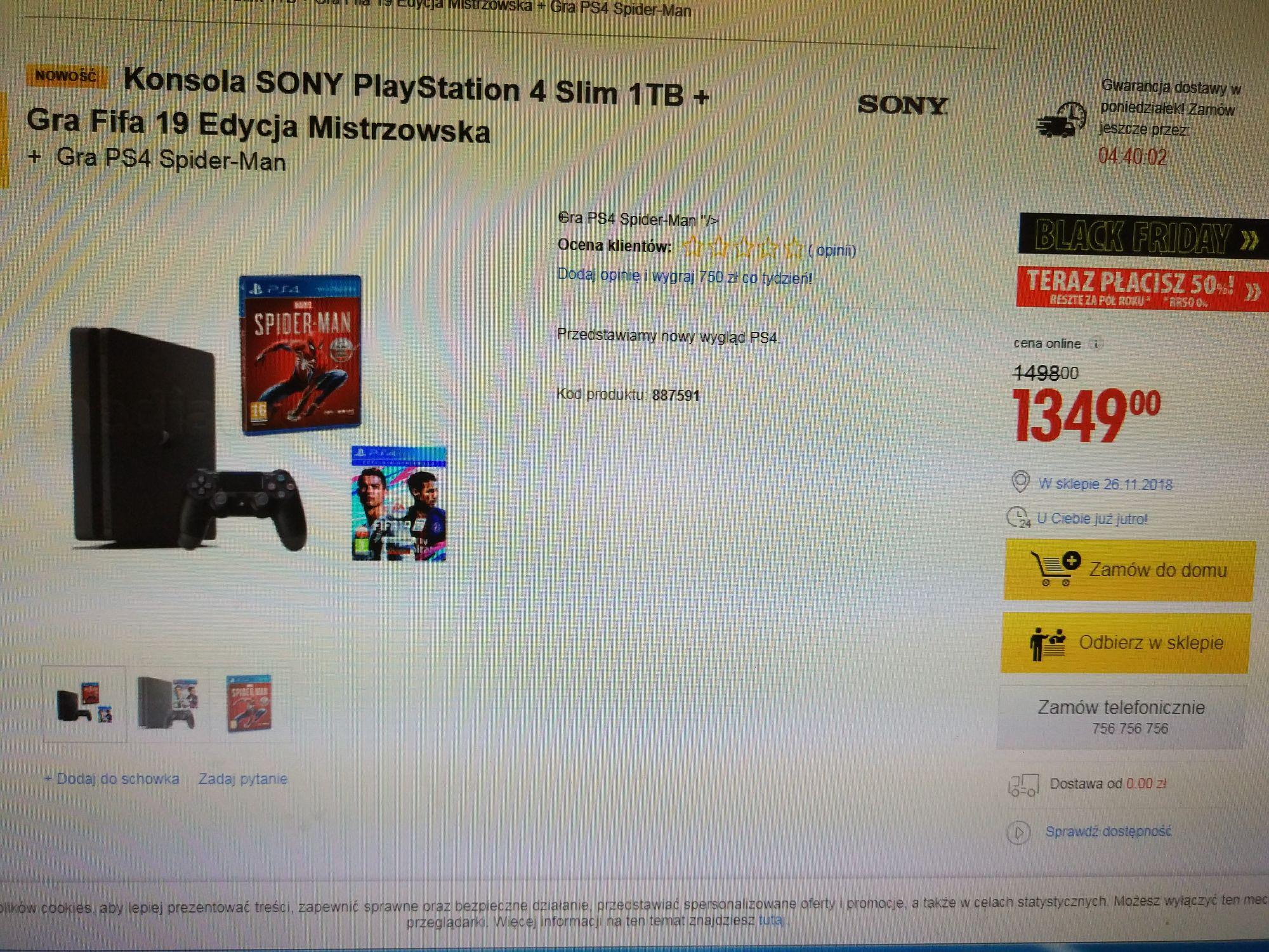 PS4 Slim 1 TB + Fifa 19 Mistrzowska Edycja + Spider Man