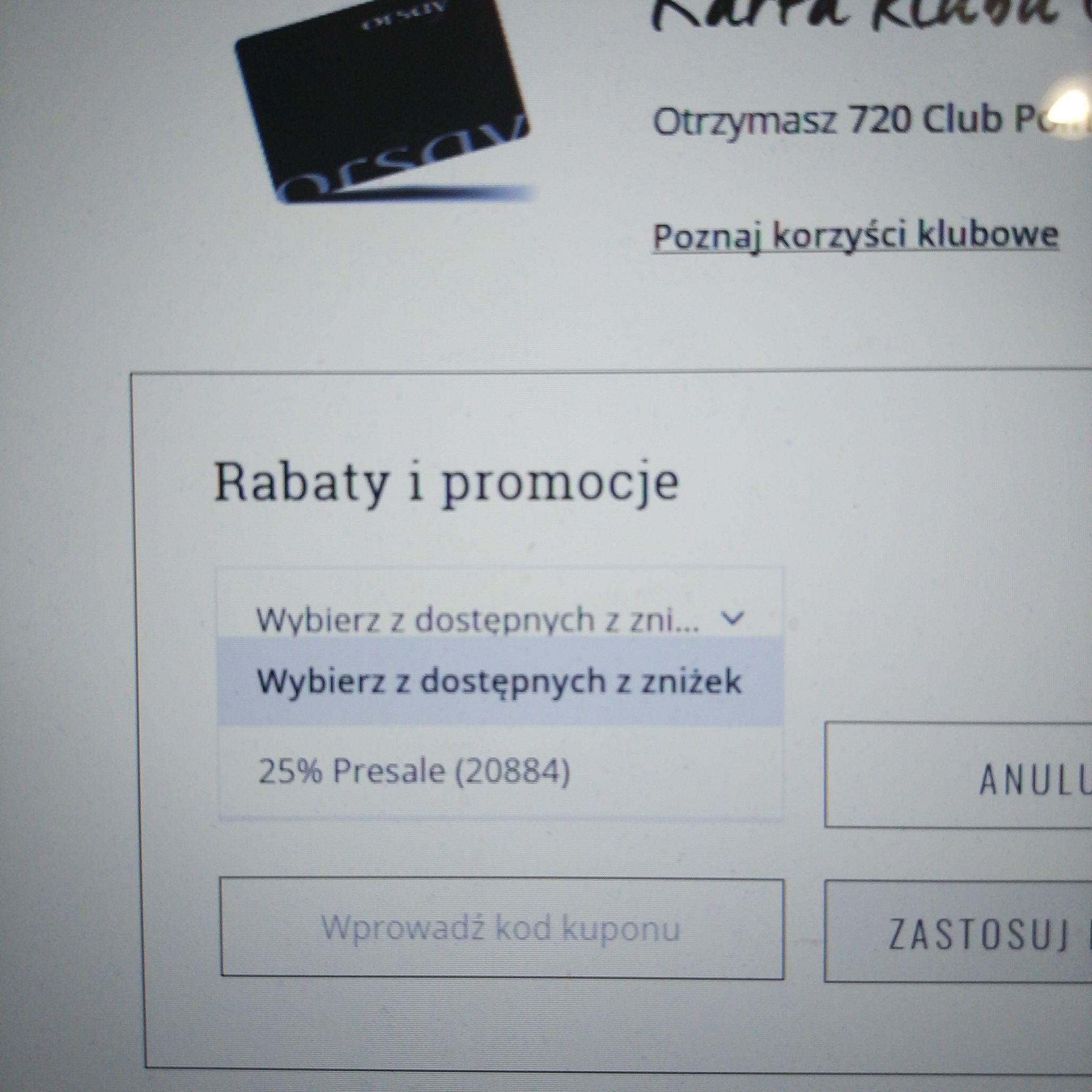 Rabat 25% na wszystkie produkty