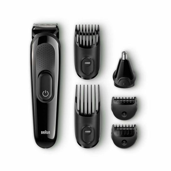 Wielofunkcyjny zestaw do strzyżenia Braun MGK3020 – urządzenie 6 w 1 do zarostu i włosów na głowie.