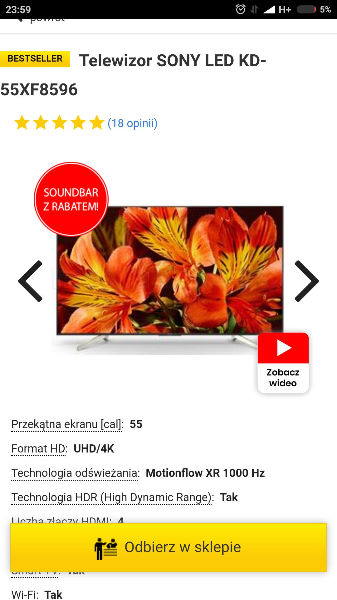 Telewizor Sony 55xf8596 w świetnej cenie!