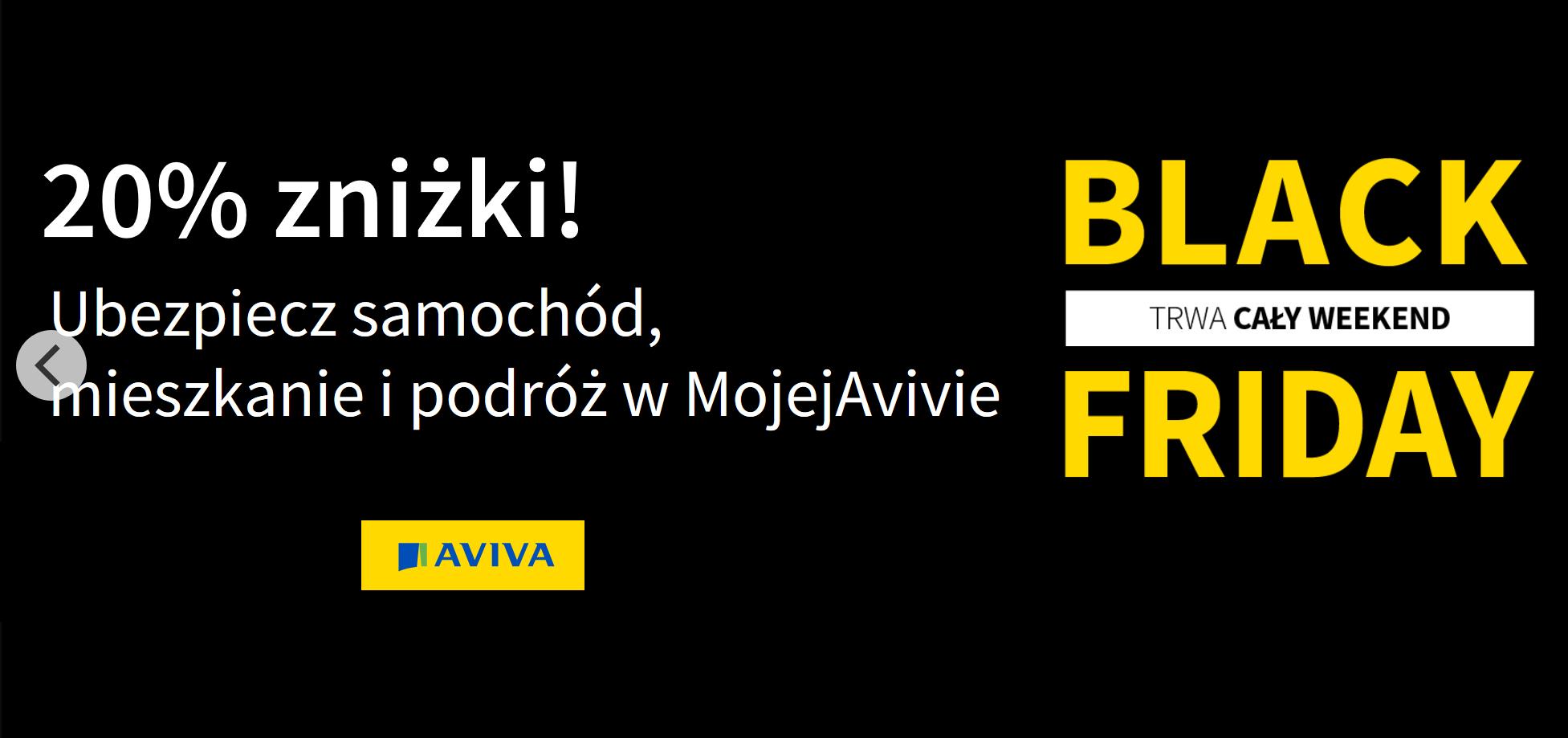 Aviva - 20% zniżki na ubezbieczenia z okazji Black Friday