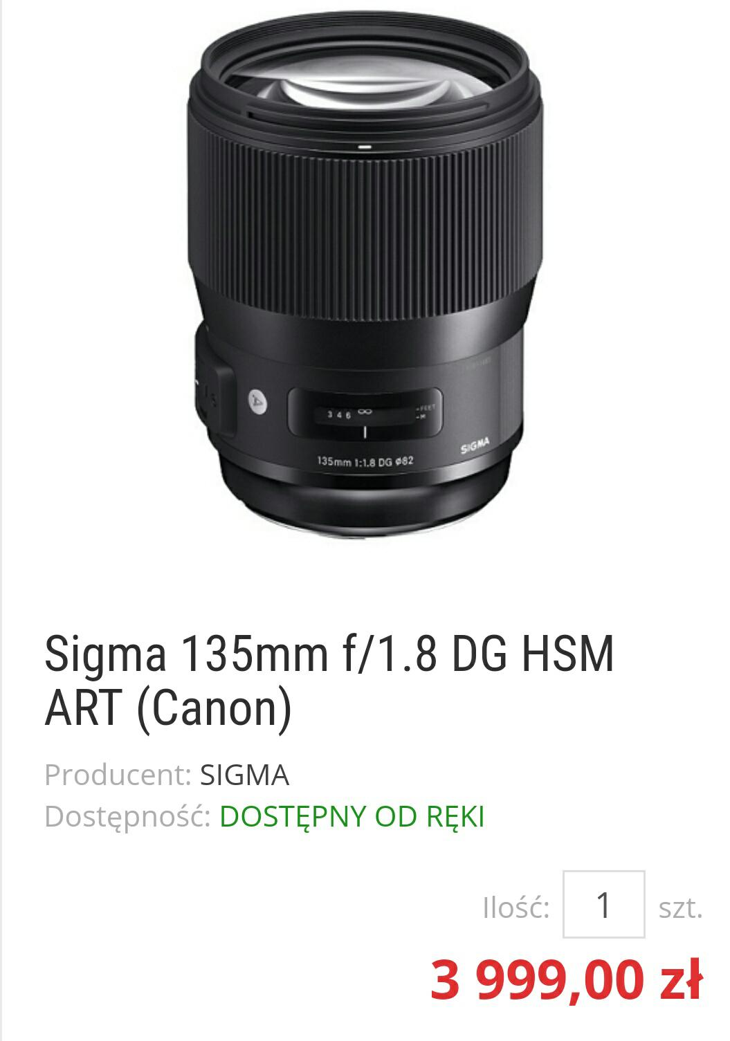 Sigma Art 135 1.8F Canon + USB Dock