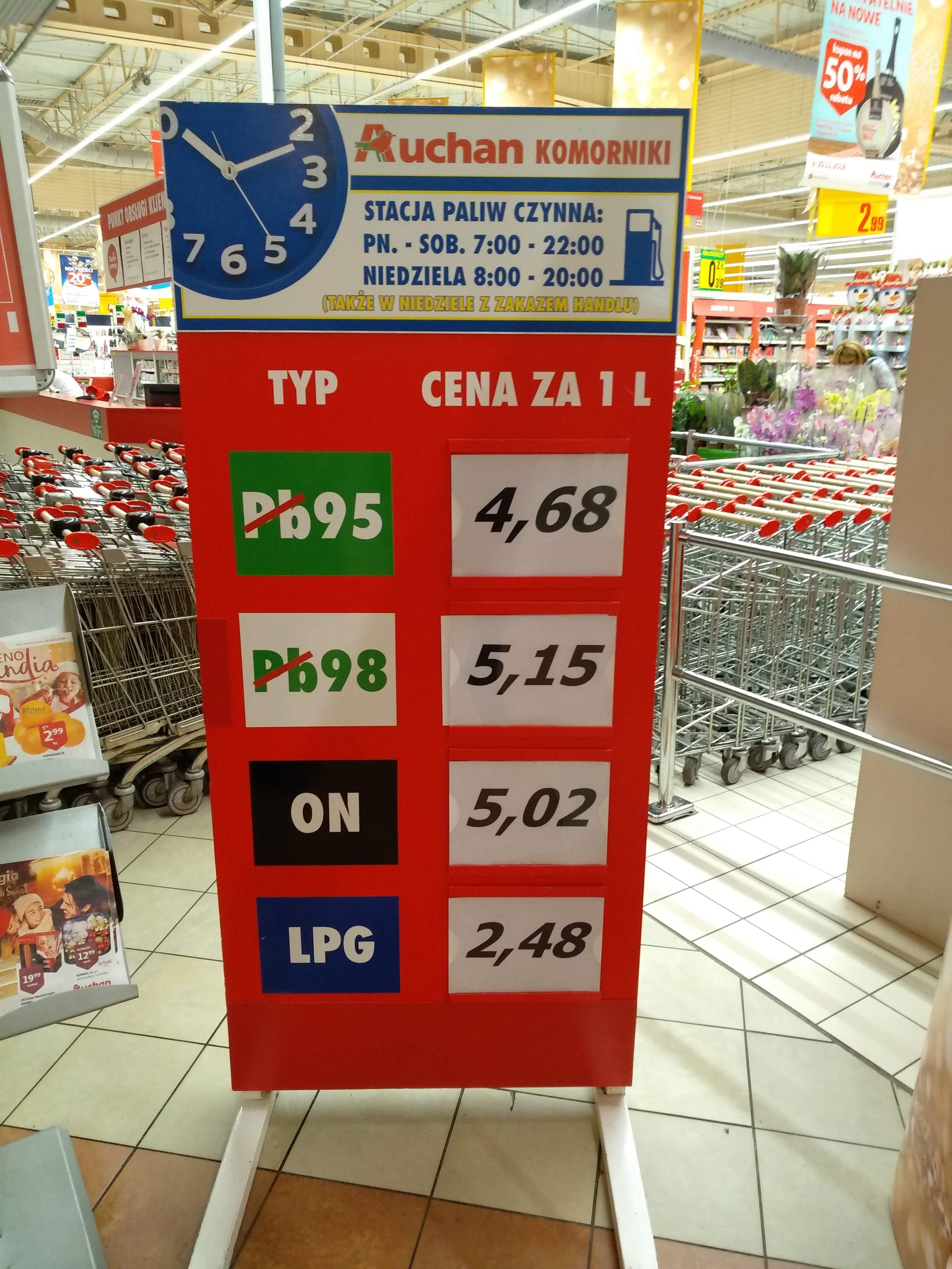 Auchan Stacja Paliw PB95 Super cena (Poznań - Komorniki)