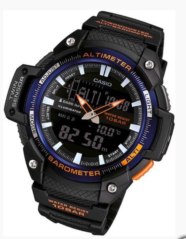 SUPER zegarek CASIO SGW-450H 2B  Barometr, termometr, wysokościomierz.