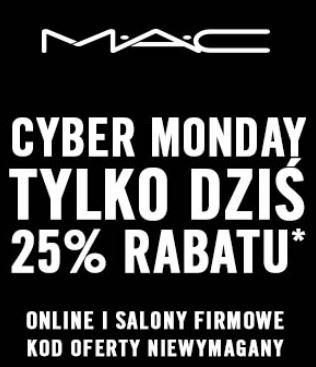 zniżka na kosmetyki MAC 25 %