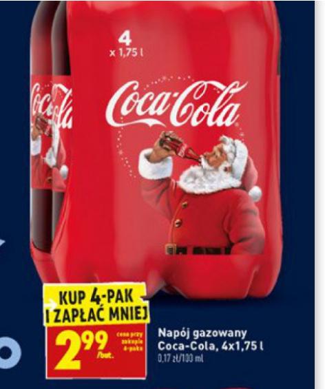 Cola Cola 1.75L przy zakupie 4 butelek 1,70/L @Biedronka