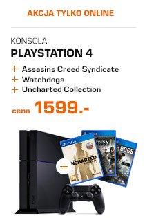 """Słynny zestaw"" Konsola PS4 1TB + Assassin's Creed Syndicate + Uncharted: kolekcja Nathana Drake'a + Watch Dogs za 1599zł SATURN"