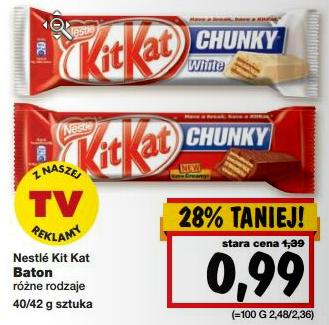 Batony KitKat (różne rodzaje) za 99 groszy @ Kaufland